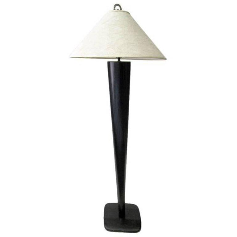 Black Lacquer Carved Wood Floor Lamp For Sale