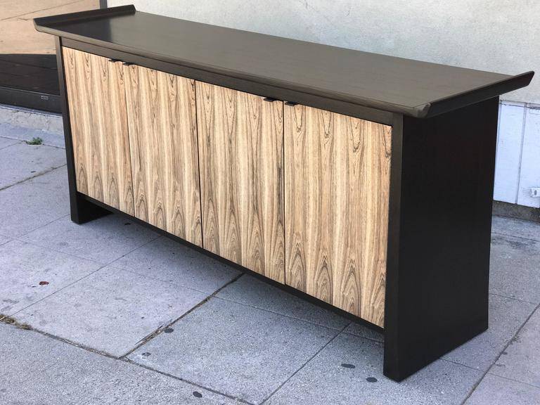 Mid-Century Modern Two-Tone Asian Flair Walnut Sideboard by Bernhardt For Sale