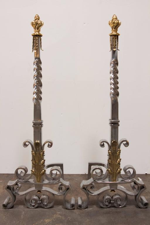 Spectacular Pair of Andirons Attributed to Gilbert Poillerat 7