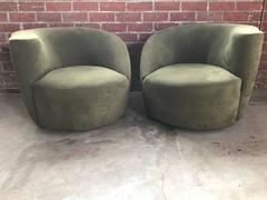 Olive Green Vladimir Kagan Nautilus Swivel Chairs, a Pair