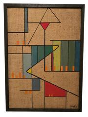 Geometric Abstraction Oil on Burlap by David Segel