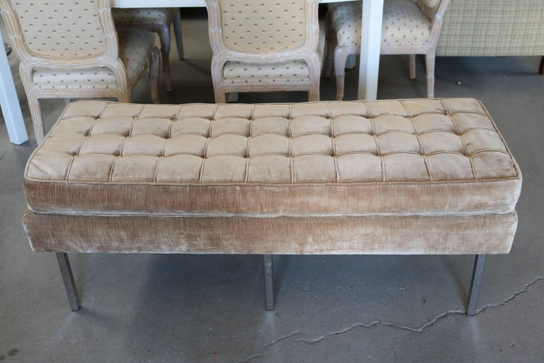 Tufted Velvet Bench Seating With Chrome Legs Attributed To