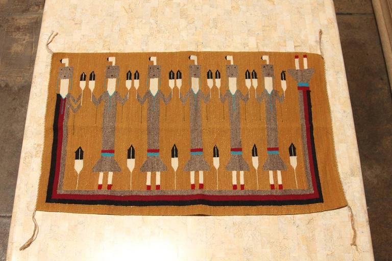 Vintage Yei Woven Navajo Rug At 1stdibs