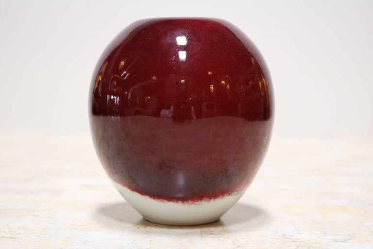 Candy Apple Red and Cream Decorative Ceramic by Masuo Ojima In Excellent Condition For Sale In Los Angeles, CA