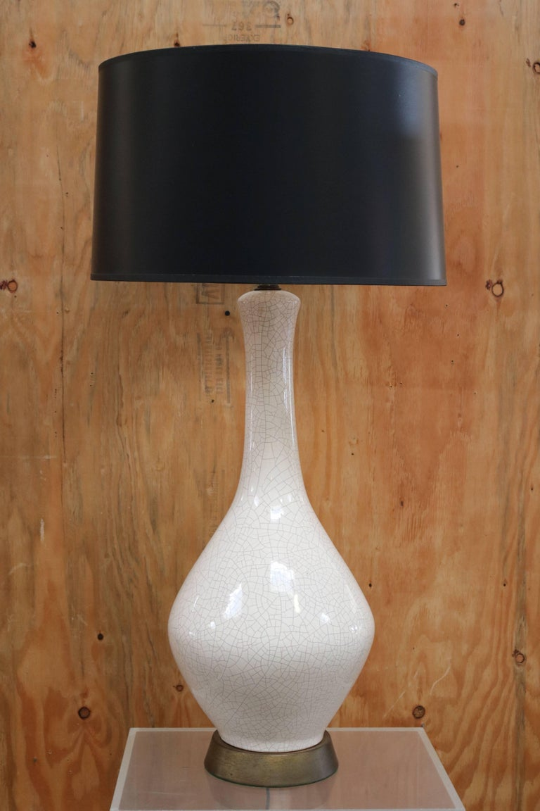 White Crackled Ceramic Table Lamp 2