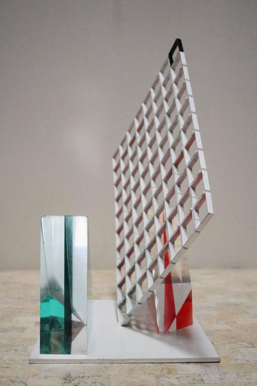 Post-Modern Unusual 1980s Lucite Block and Metal Grid Sculpture For Sale