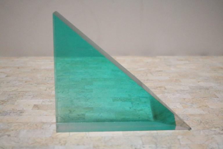 Unusual 1980s Lucite Block and Metal Grid Sculpture In Excellent Condition For Sale In Los Angeles, CA
