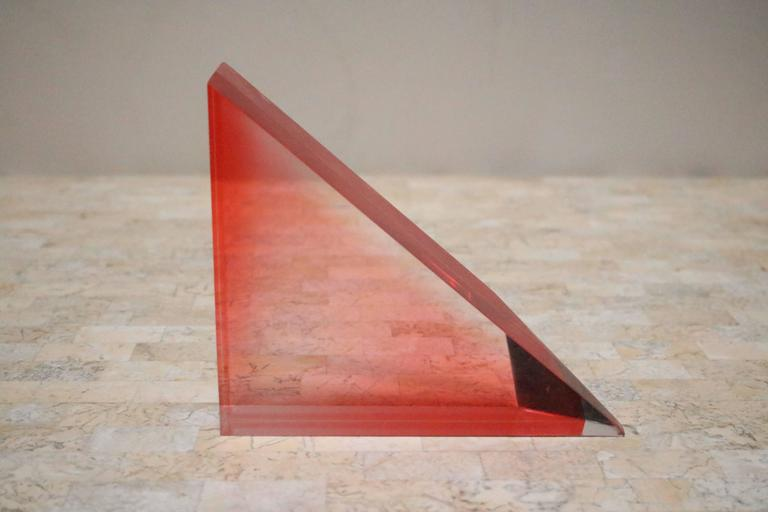 Late 20th Century Unusual 1980s Lucite Block and Metal Grid Sculpture For Sale