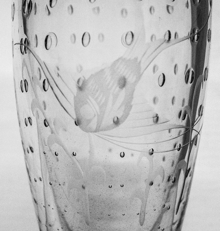 Mid-Century Modern Little Glass Vase with Fish Etching For Sale