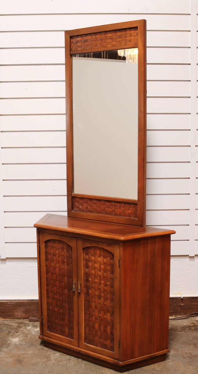 Foyer Mirror Cabinet : Walnut entryway storage cabinet with mirror for sale at