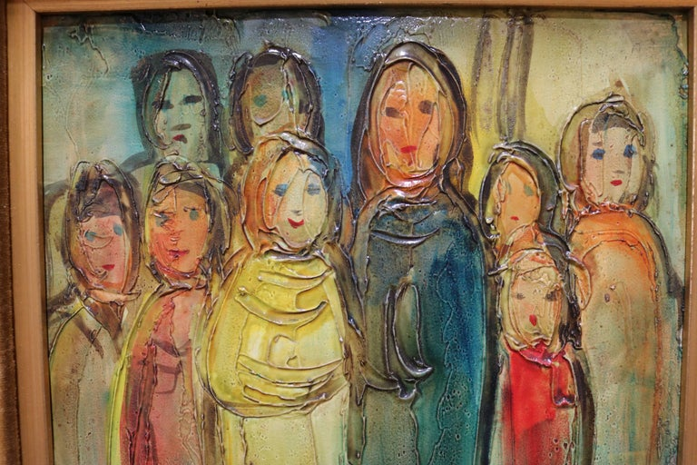 This colorful oil painting on board by Viola M. Allen depicts a group of standing women and girls.   Viola M. Allen was born on Long Island, New York and studied at the Pratt Institute. She had a commercial art studio in Malibu for many years and