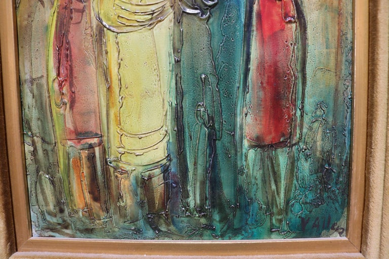 Mid-Century Modern Colorful Oil Painting on Board by Viola M. Allen For Sale