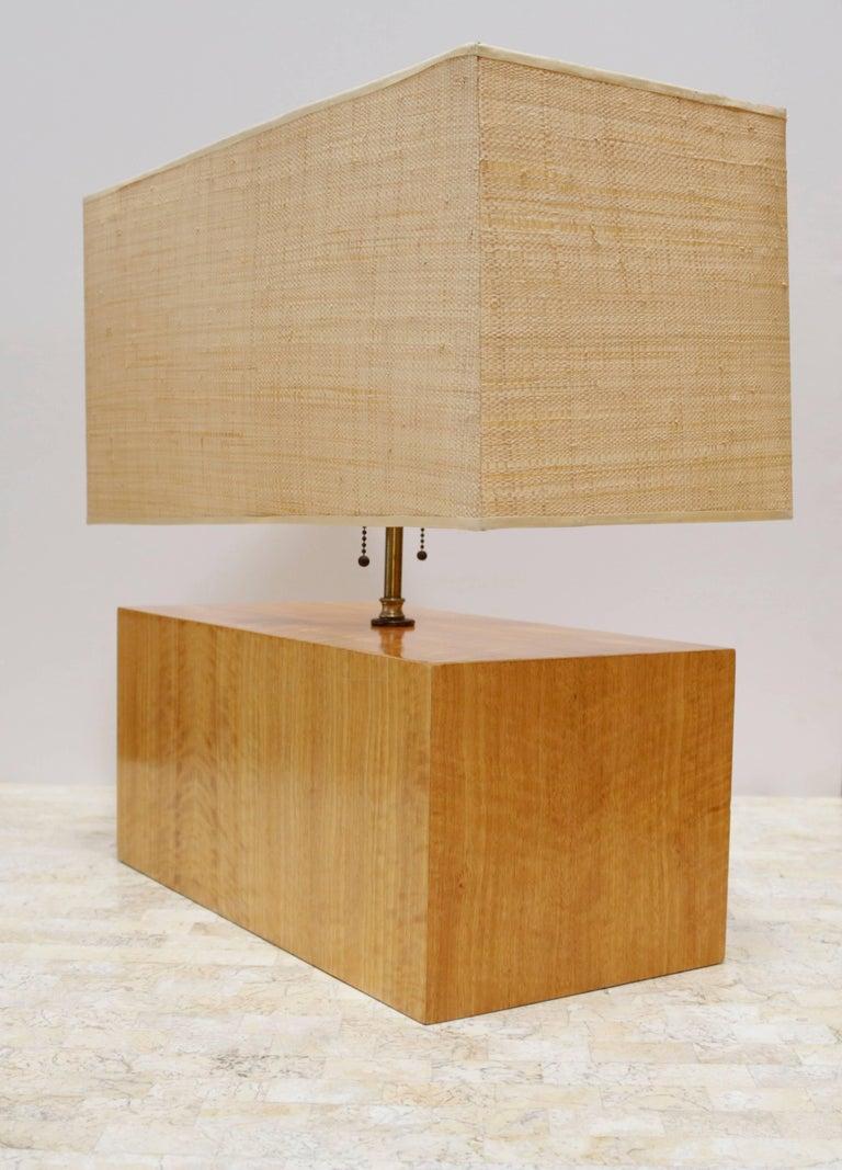 Rectangular Zebra Wood Table Lamp At 1stdibs