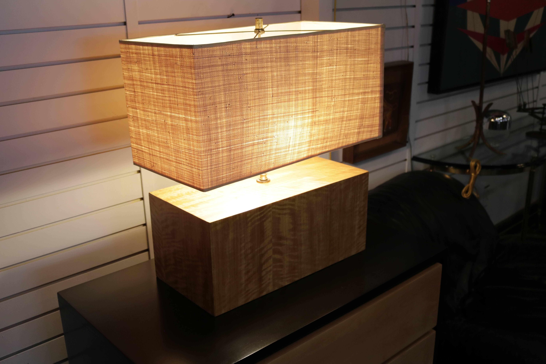 Linen Rectangular Zebra Wood Table Lamp For Sale