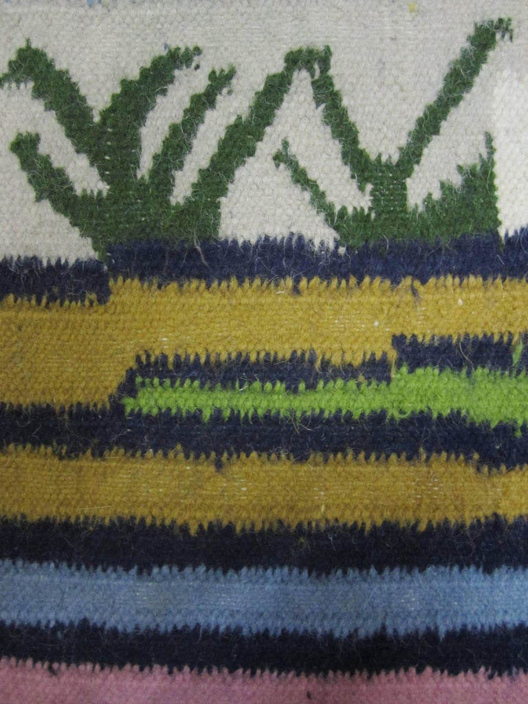 Mid-Century Modern Woven Wool Rug or Tapestry with Mexican Landscape Scene For Sale