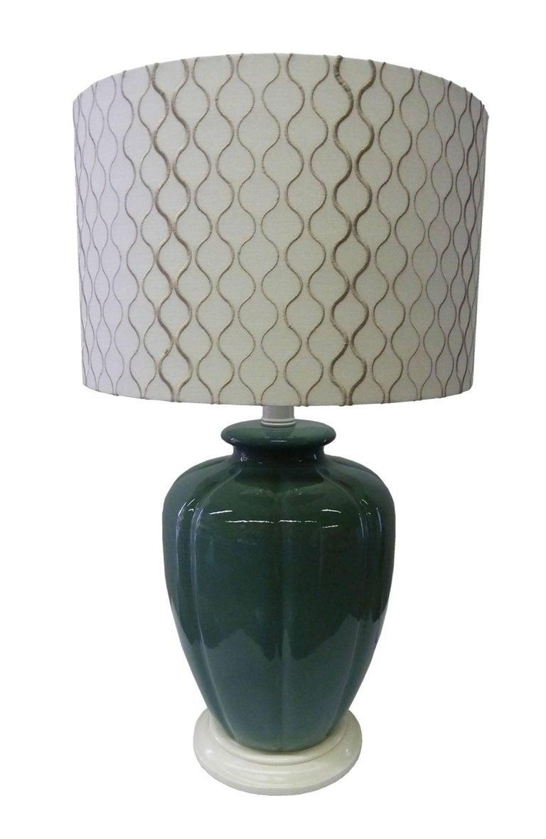 Pair of Emerald Green Ceramic Table Lamps 3