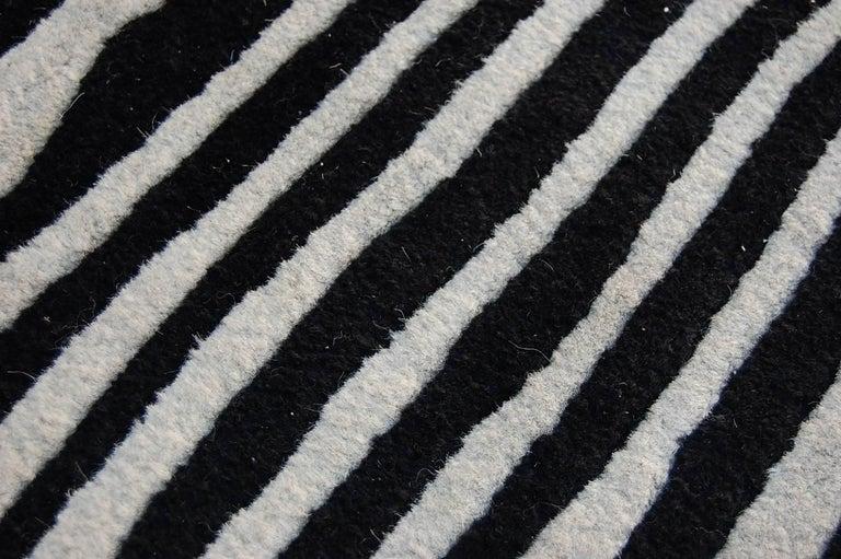 Black and white zebra striped wool rug at 1stdibs for Black and white wool rug