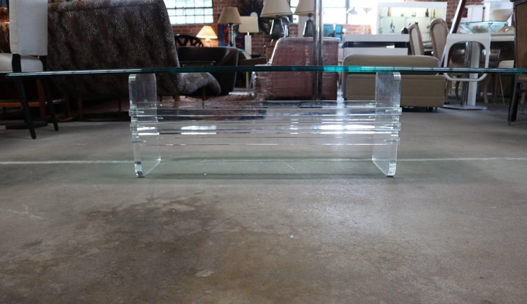 American Architectural Lucite and Glass Top Coffee Table For Sale