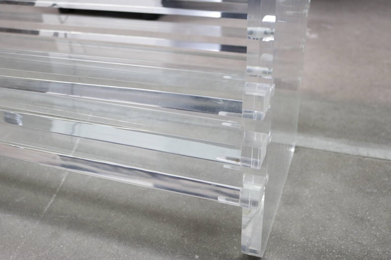 20th Century Architectural Lucite and Glass Top Coffee Table For Sale
