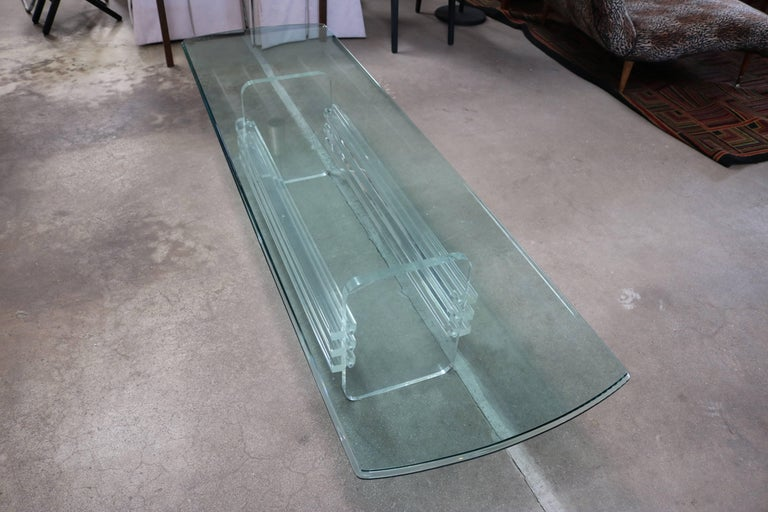 Mid-Century Modern Architectural Lucite and Glass Top Coffee Table For Sale