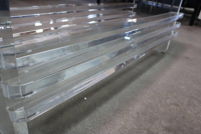 Architectural Lucite and Glass Top Coffee Table In Excellent Condition For Sale In Los Angeles, CA
