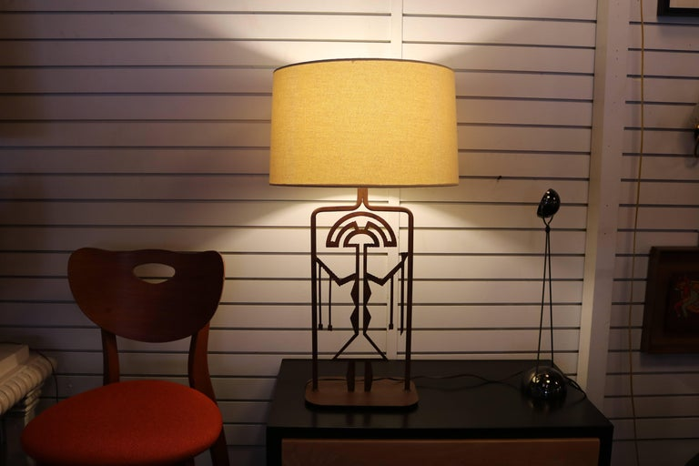 Mexican Rust Finished Metal Lamp with Symbolic Figure For Sale