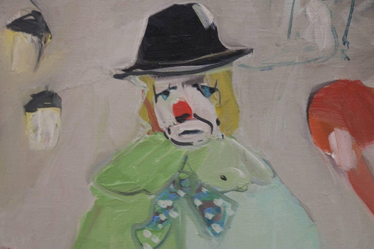 Small painting of clown with trapeze artist and dog in background. Signed in bottom corner but signature illegible.
