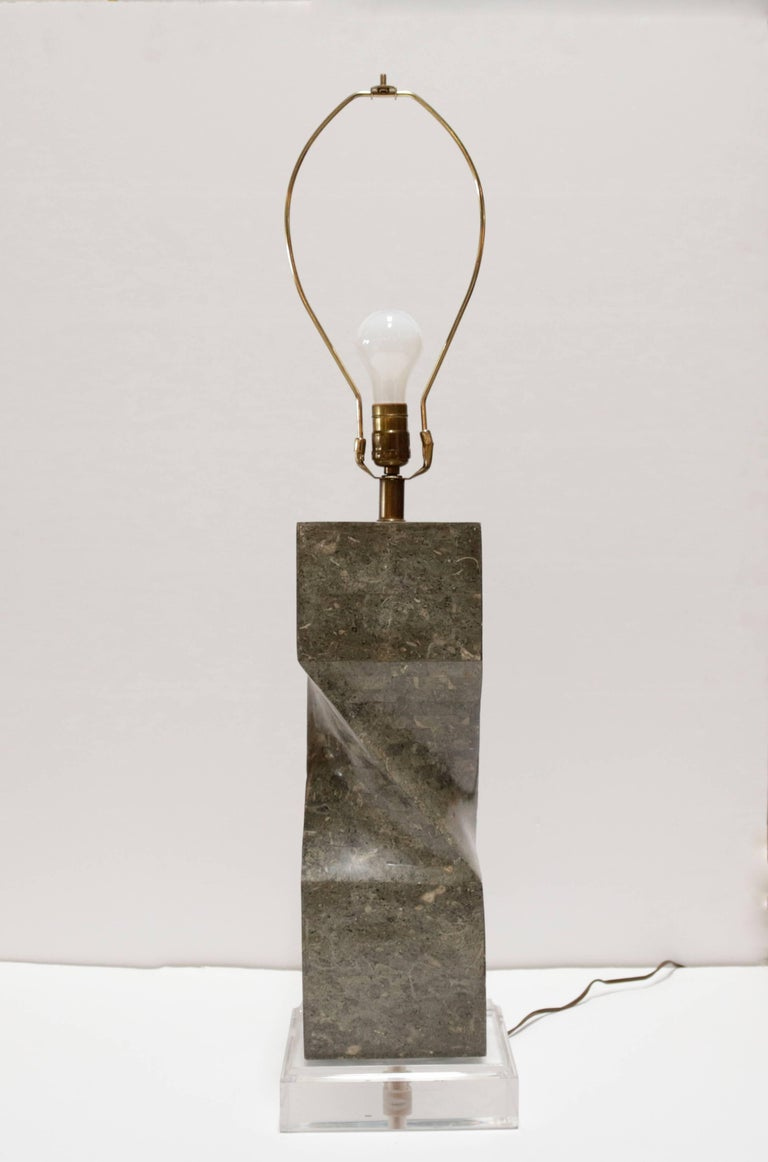 Tessellated Marble Table Lamp On Lucite Base For Sale At