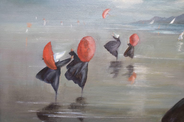 Mid-Century Modern Nuns by the Shore Oil Painting For Sale