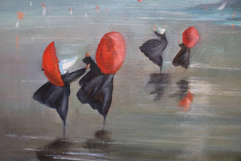 Nuns by the Shore Oil Painting In Excellent Condition For Sale In Culver City, CA