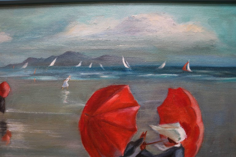 Late 20th Century Nuns by the Shore Oil Painting For Sale