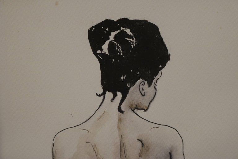 Mid-Century Modern Female Nude Back Ink and Watercolor Drawing by David Segel For Sale
