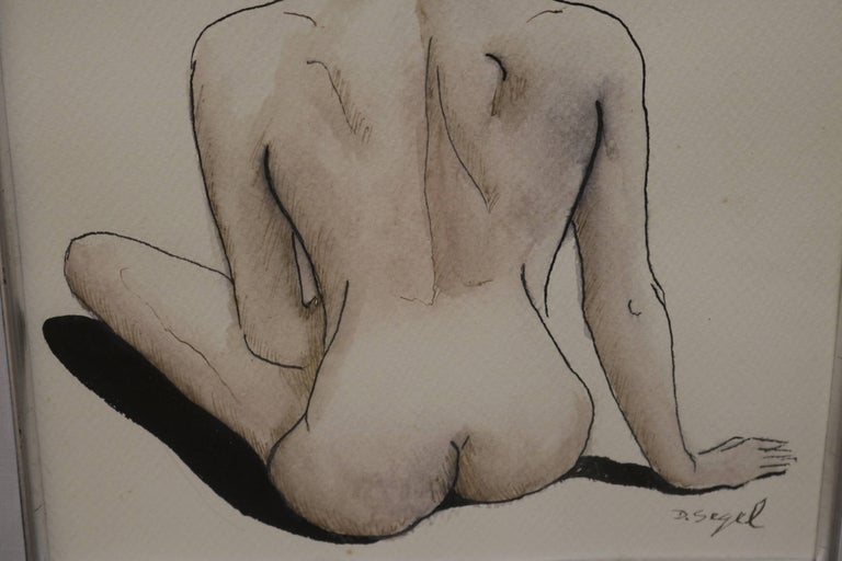 American Female Nude Back Ink and Watercolor Drawing by David Segel For Sale