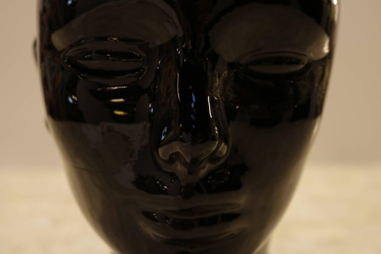 20th Century Black Glass Sculpture of Woman's Head For Sale