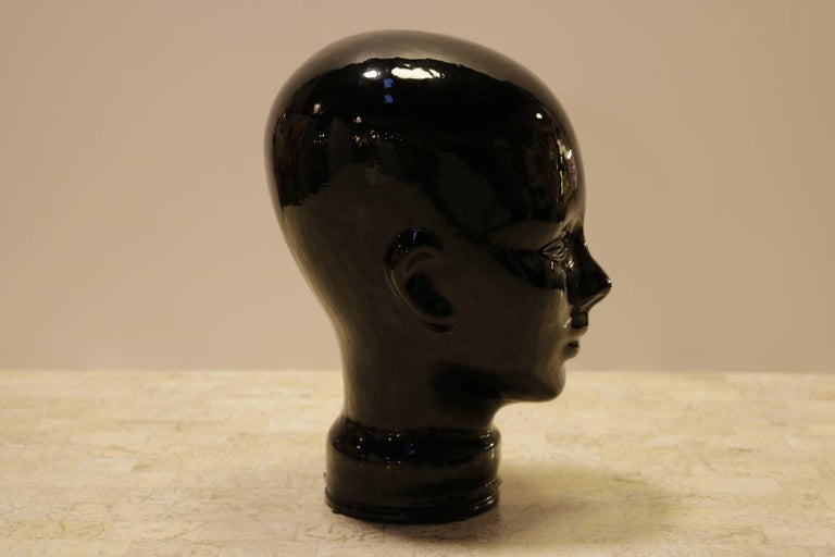 Mid-Century Modern Black Glass Sculpture of Woman's Head For Sale