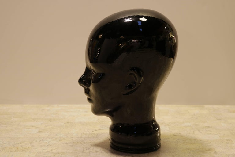Black Glass Sculpture of Woman's Head In Excellent Condition For Sale In Los Angeles, CA