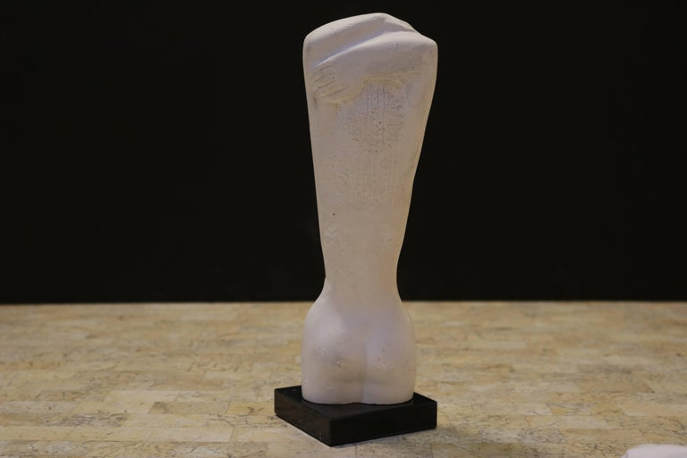 Carved Ancient Greek Kore Style Sculpture on Marble Base For Sale