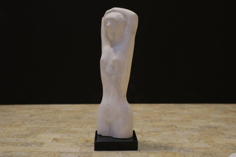 Classical Greek Ancient Greek Kore Style Sculpture on Marble Base For Sale