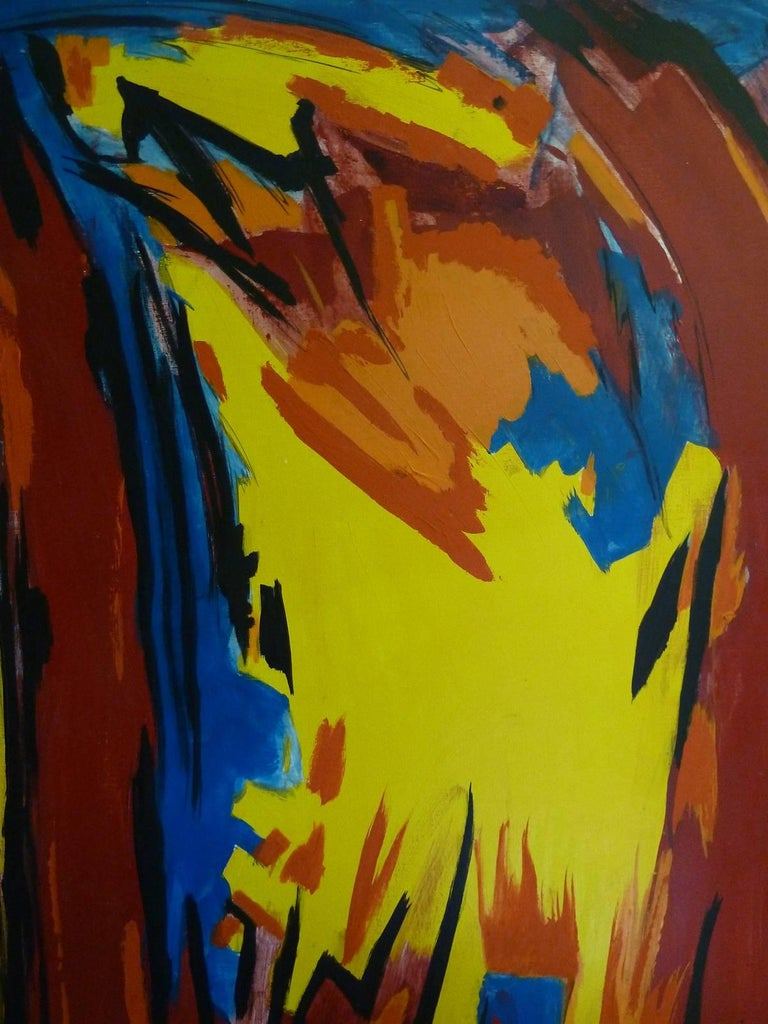 Bold and graphic abstract oil on canvas in blue, yellow, red and orange from the estate of Bert Miripolsky American artist Miripolsky studied painting at Chicago Art Institute in the early 1940s and has exhibited throughout the world since 1945.