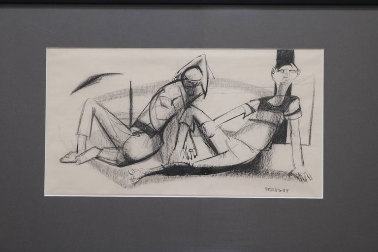 This framed charcoal and ink sketch by Walter Peregoy shows two lounging figures. Signed by the artist.  A perfect of drawing strokes, Walter Peregoy, (1925-2015) was an American artist acclaimed for his Avant Garde style. He is also known for his