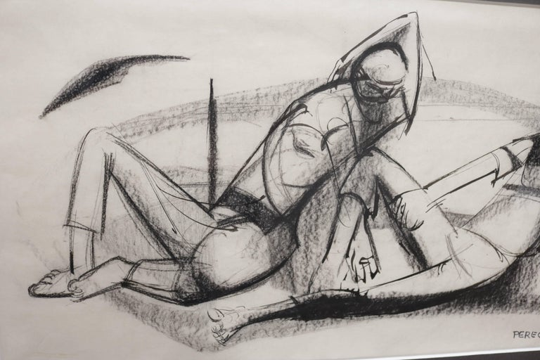 American Two Lounging Figures in Charcoal and Ink by Walter Peregoy For Sale