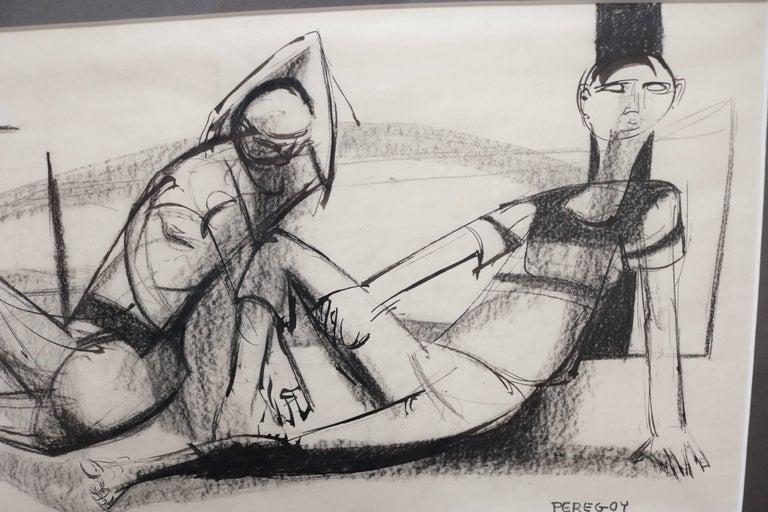 Post-Modern Two Lounging Figures in Charcoal and Ink by Walter Peregoy For Sale