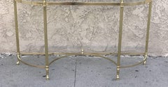 Two Elegant Demilune Console Brass Bases