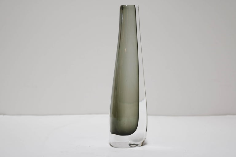 Orrefors Smoked Glass Vase By Nils Landberg For Sale At 1stdibs