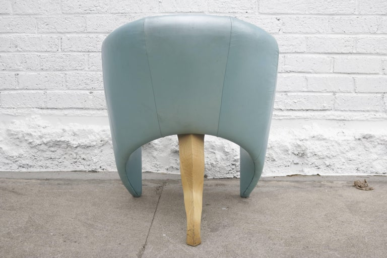 American Pair of 1980s Memphis Style Chairs in Aquamarine Leather For Sale