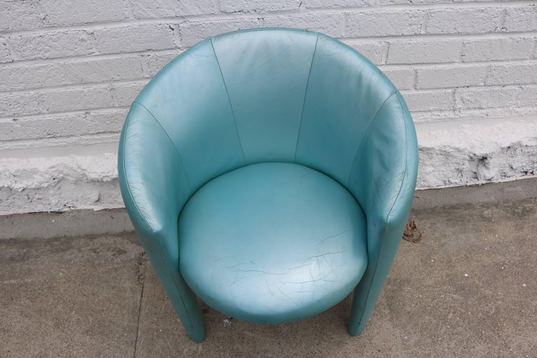 Pair of 1980s Memphis Style Chairs in Aquamarine Leather For Sale 1
