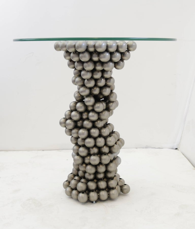 Unusual 1970s Steel Ball Base Gueridon In Good Condition For Sale In Los Angeles, CA