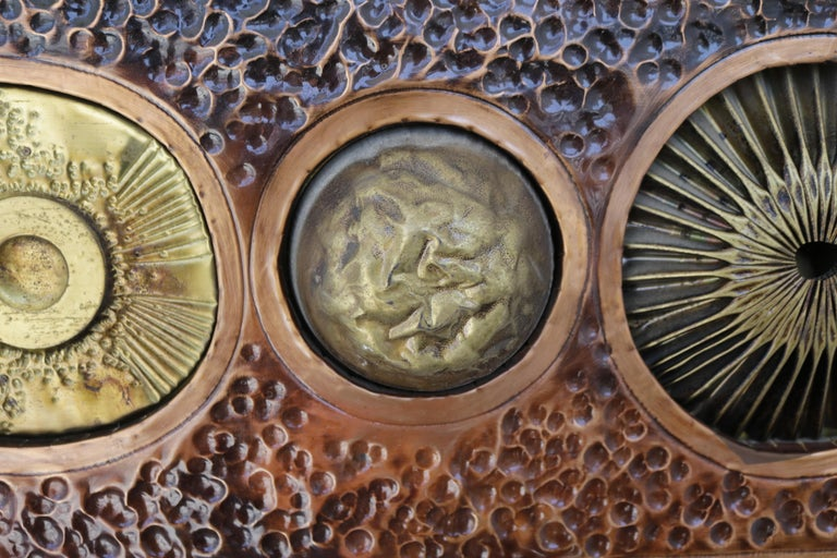 Mid-Century Modern Brutalist Copper and Brass Wall Art For Sale