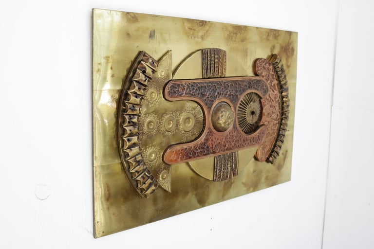 Brutalist Copper and Brass Wall Art For Sale 1