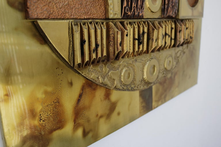 Brutalist Copper and Brass Wall Art For Sale 4
